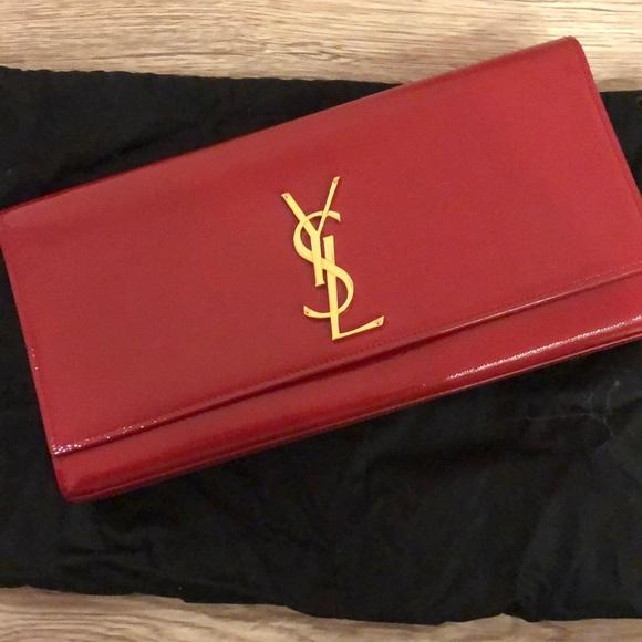 Saint Laurent Handbags - Saint Laurent Cassandre Vernis Leather Clutch
